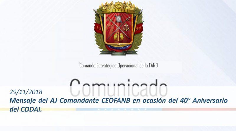 Mensaje del AJ Comandante CEOFANB en ocasión del 40° Aniversario del CODAI.